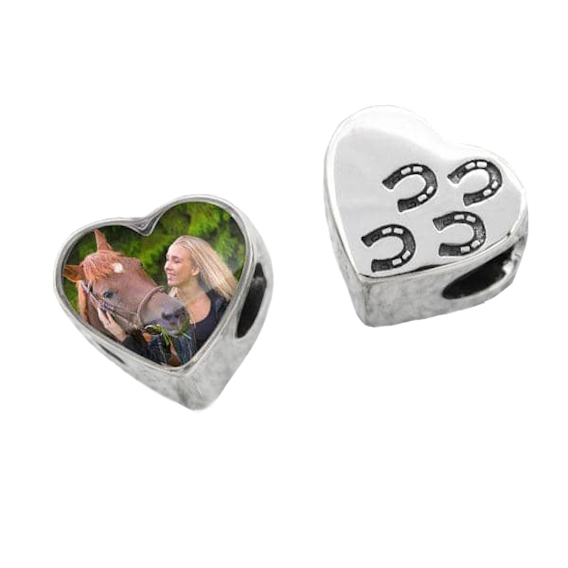 Hoof Prints Heart Photo Charm