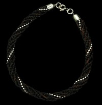 "Horseshoe Complete Braid Bracelet with Sterling Silver Beading (7.5"")"