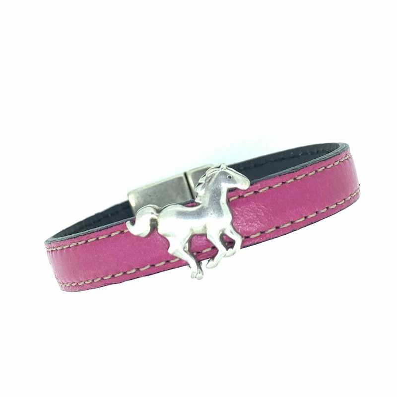 Stitched Leather Bracelet with Bead