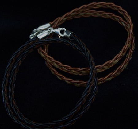 "Double Wrap Leather and Horsehair Bracelet (7.5"")"