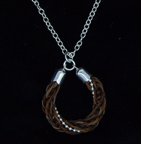 Horseshoe Braid with Sterling Silver Beading Pendant Necklace