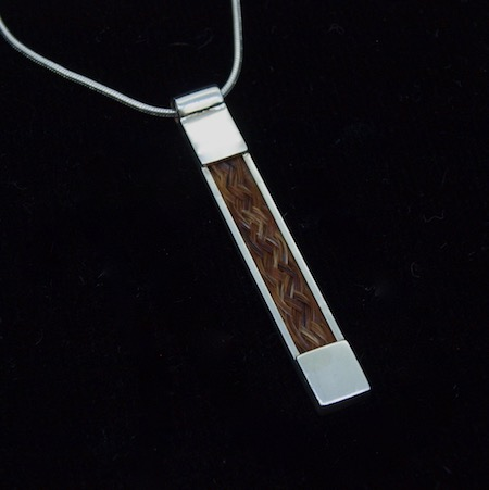 Necklace with Inlaid Horsehair Pendant