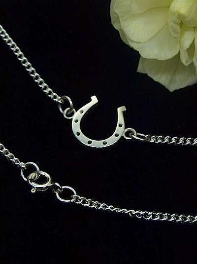 Silver Horseshoe Pendant Necklace