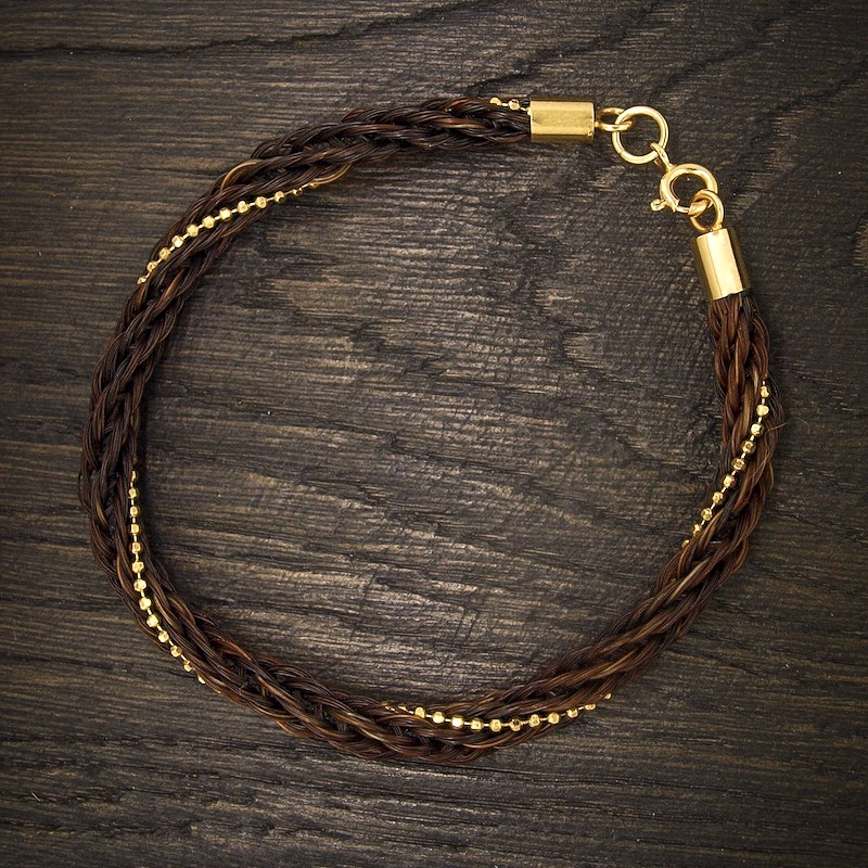 Horseshoe Complete Braid Bracelet with Gold Plated Beading
