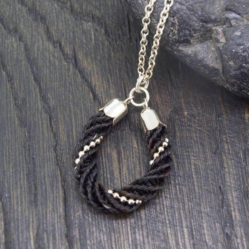 Classic Horsehair with Sterling Silver Beading Pendant Necklace