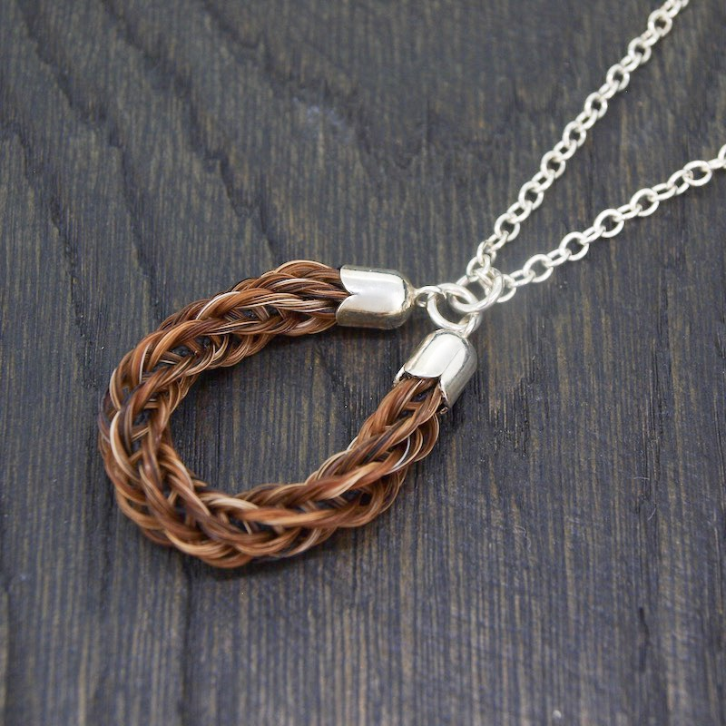 Braided Horseshoe Pendant Necklace