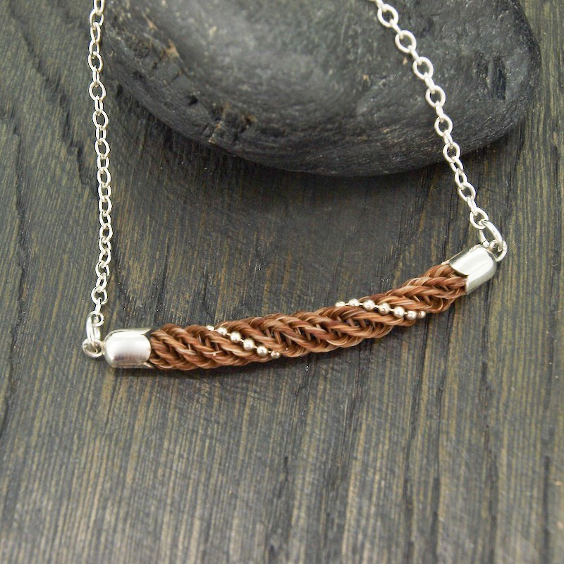 Classic Horsehair Bar Pendant with Sterling Silver Beading Necklace