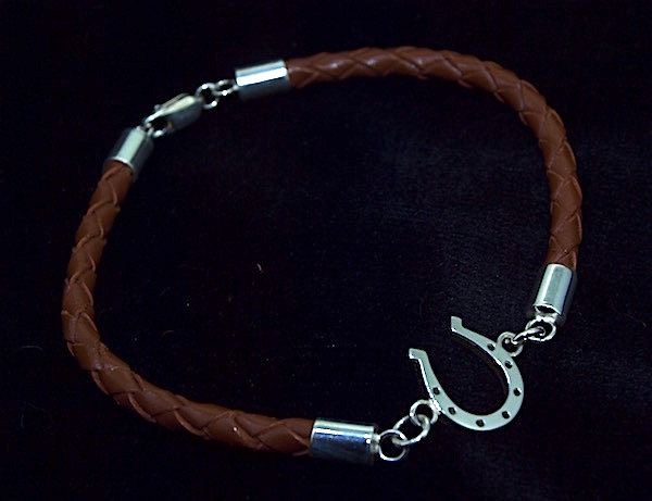 Braided Leather and Horseshoe Bracelet