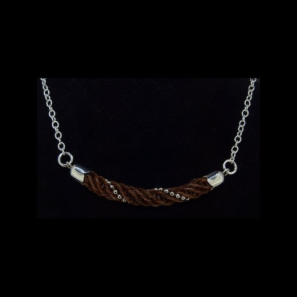 "Braided Bar with Sterling Silver beading Pendant on Chain Necklace (18"")"