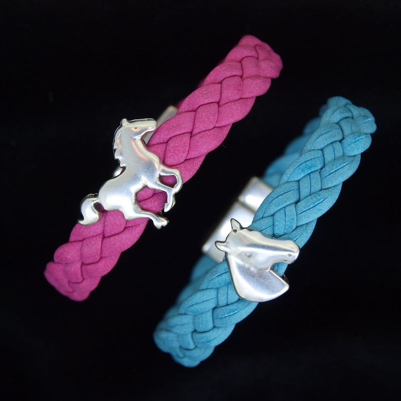 Childs Flat Braided Leather Bracelet with Bead