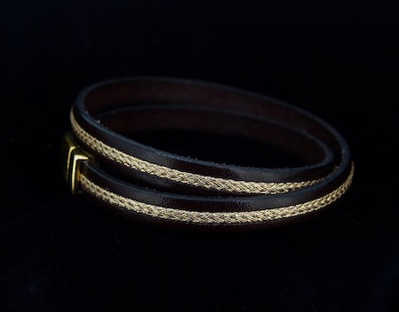 Double Wrap Leather and Gold Braid Browband Bracelet