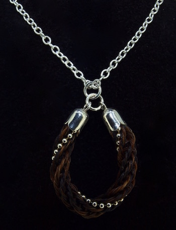 "Horseshoe Braid with Sterling Silver Beading Pendant Necklace (18"")"