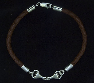 Braided Leather and Snaffle Bit Bracelet