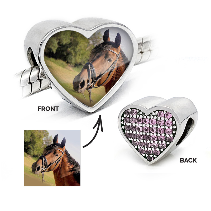 Pale Pink Heart Photo Charm