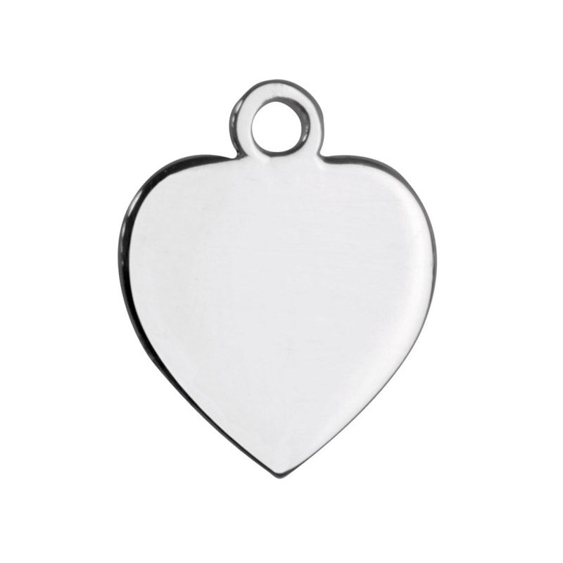 15mm Sterling Silver Flat Heart Charm