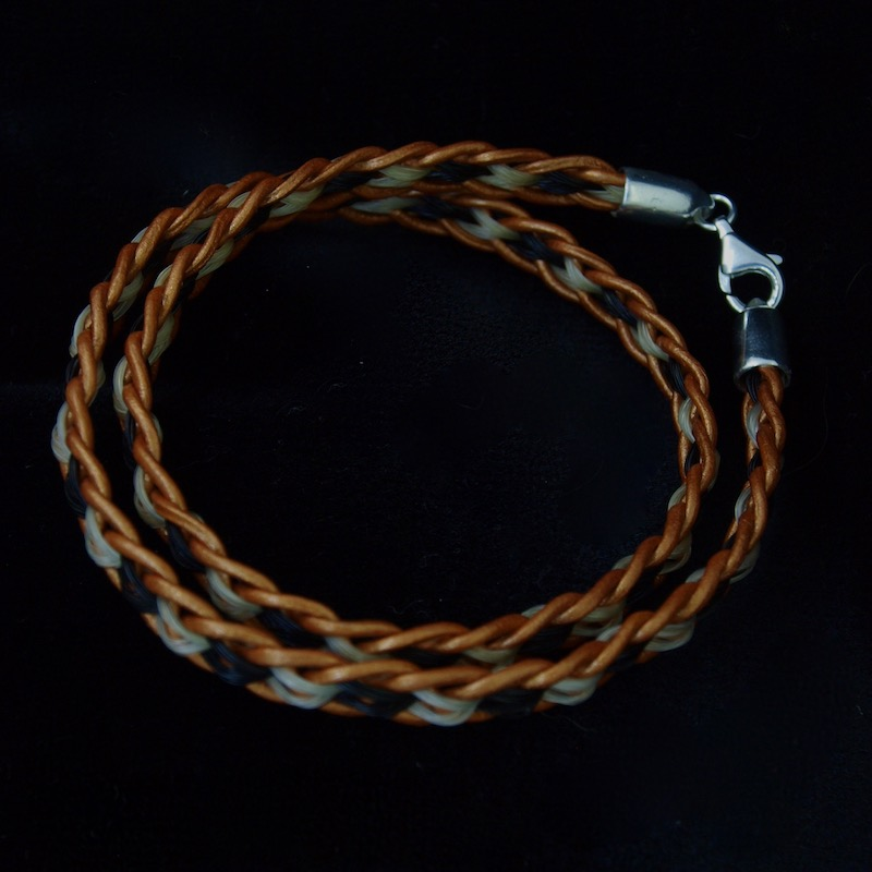 Double Wrap Leather and Horsehair Bracelet